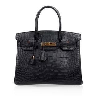 Hermes Birkin 30 Bag, Black Matte Alligator, Gold