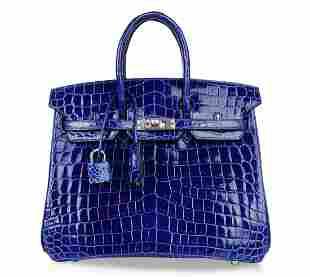 Hermes Birkin 25 Bag. Electric Blue Crocodile, Jeweled