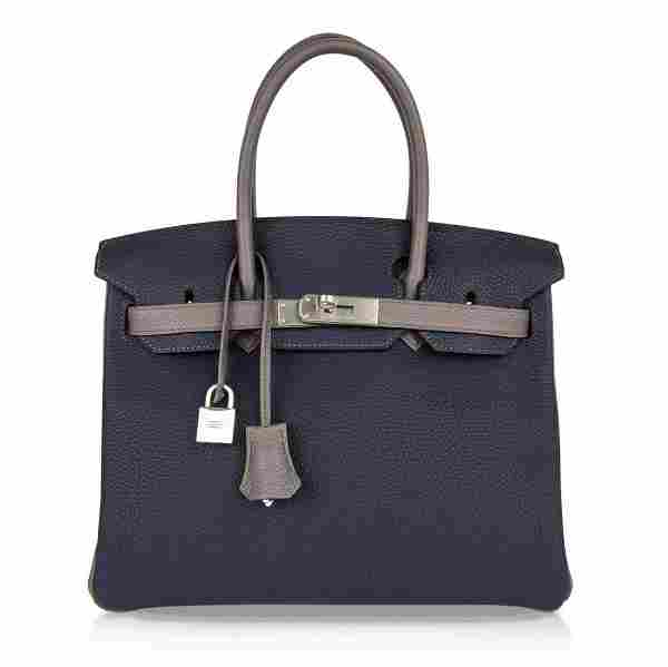 Hermes Birkin 30 HSS Bag, Blue Nuit and Etain Togo