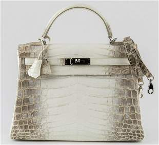HERMES KELLY HIMALAYA IN NILOTICUS CROCODILE WITH