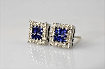 Platinum, Diamond, and Sapphire Earrings