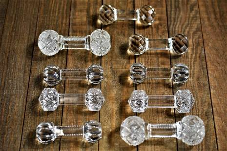 Antique Cut Glass Knife Rest Sets Grouping