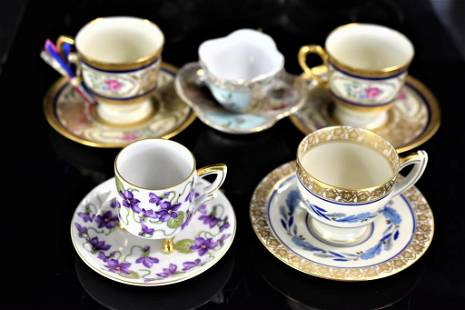 European Porcelain Demitasse Cup & Saucer Grouping