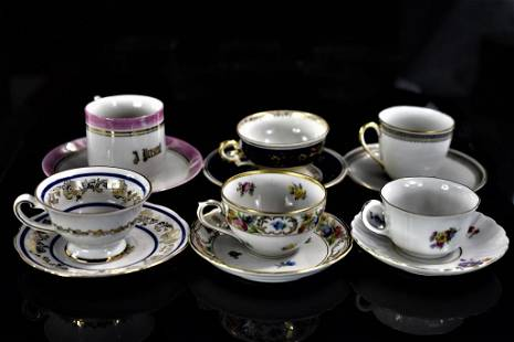 German Porcelain Demitasse Cup & Saucer Grouping