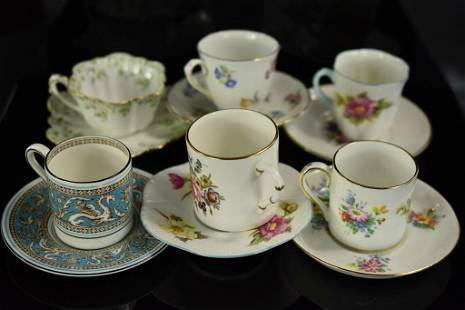 English Porcelain Demitasse Cup & Saucer Grouping