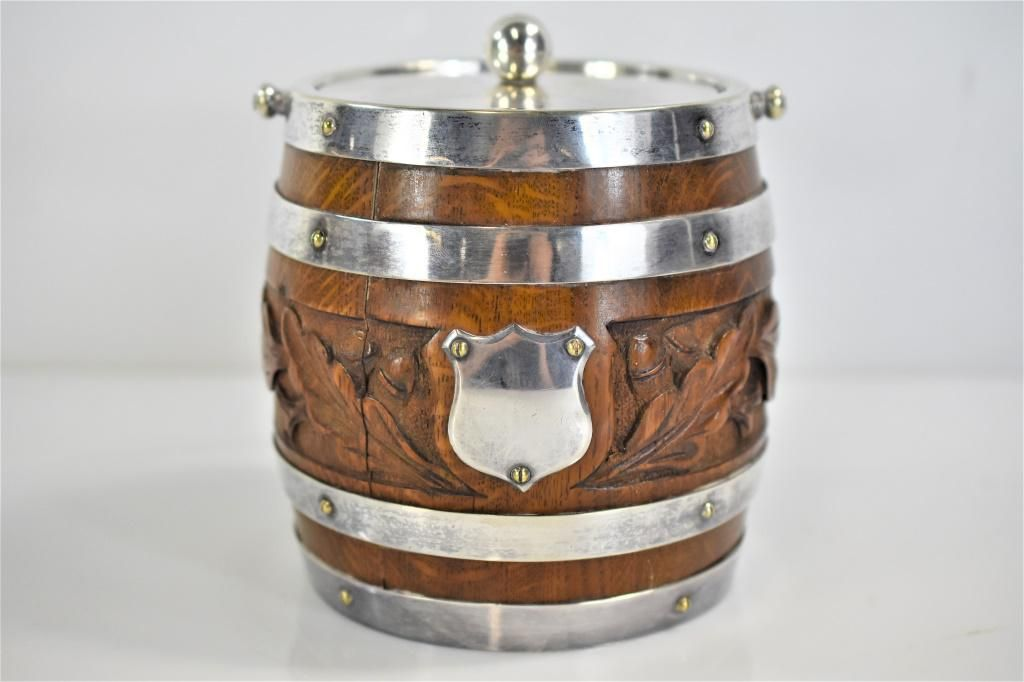 Antique English Oak and Silverplate Biscuit Barrel