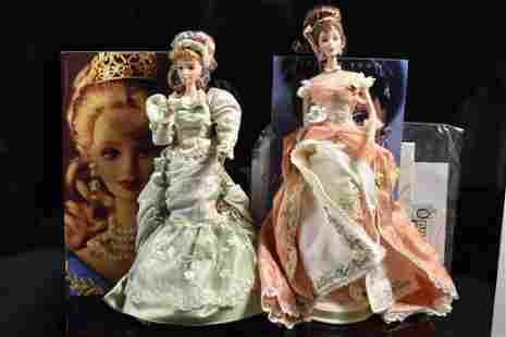 Victorian Tea Boxed Porcelain Barbie Doll Grouping