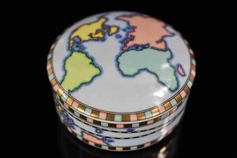 Tiffany & Co. World Map Porcelain Trinket Box
