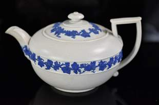 Wedgwood Drabware Teapot with Olive Motive