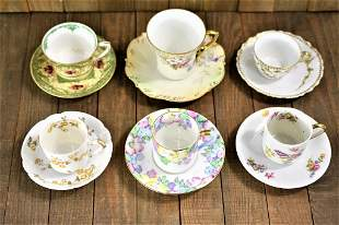 Limoges Porcelain Teacup Grouping
