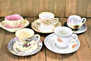 Haviland & Lenox Porcelain Teacup Grouping