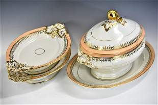 Continental Parcel Gilt Soup Tureen Grouping