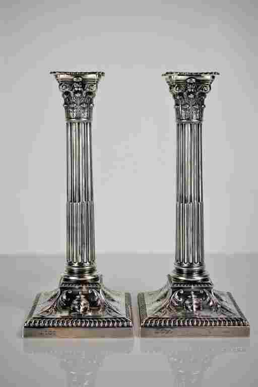 Pair of Tiffany Elizabeth II Silver Candlesticks