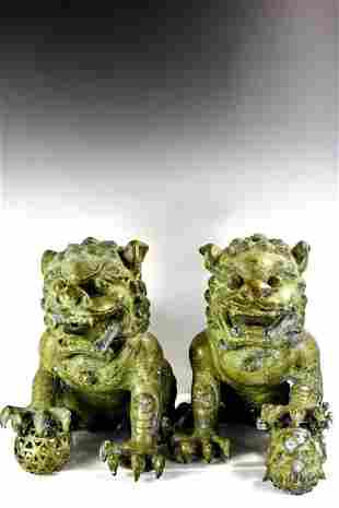 Large Pair of Antique Bronze Chinese Foo Dogs