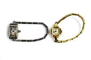 14K Gold Ladies Art Deco Watch Grouping