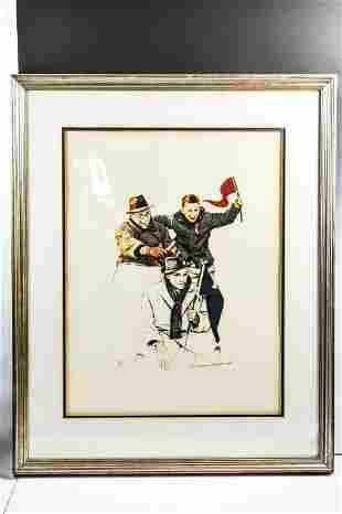 Signed Norman Rockwell Monochrome Lithograph Print