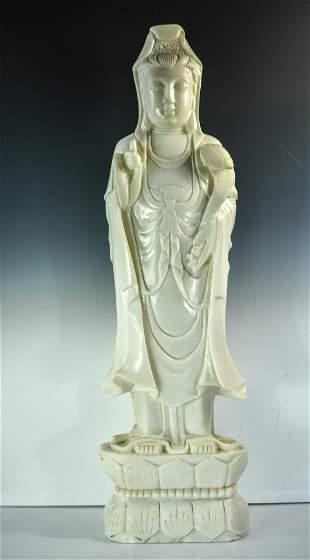 Chinese White Marble Figure of Standing Buddha