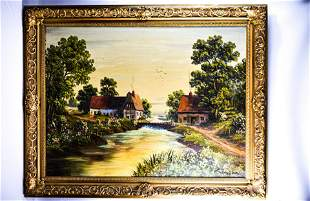 Continental Oil on Canvas Landscape
