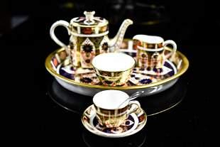 English Royal Crown Derby Miniature Tea Set