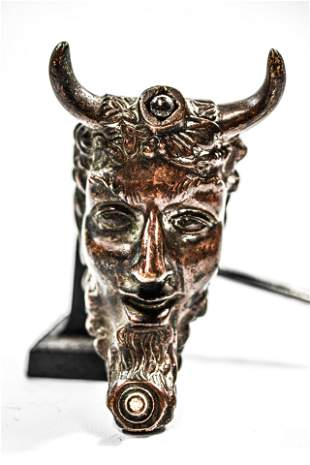 Early Greek Bronze Figural Oil Lamp of Pan
