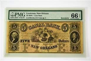 Lousiana $5 Bill Canal Bank circa 1840's 66 EPQ
