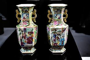 Pair Chinese Mandarin Hexagonal Vases Ca. 1840