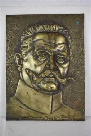 General Feldmarschall Von Hindenburg Bronze Plaque