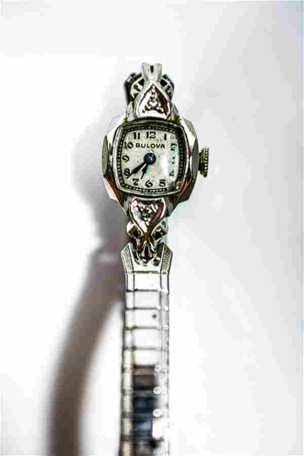 14K White Gold Bulova Ladies Wrist Watch