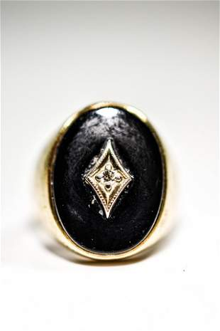 10K Yellow Gold, Onyx, & Diamond Men's Ring
