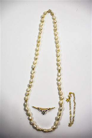 Gold Bracelet and Pin with Pearl Necklace