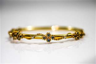 14K Gold, Sapphire, & Diamond Bracelet