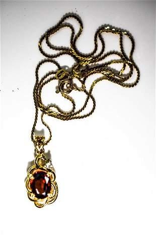 14K Yellow Gold Garnet Pendant & Chain