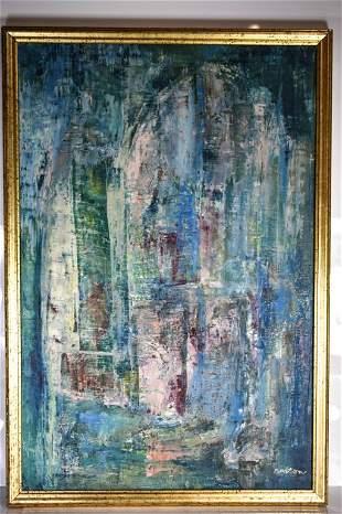 """Harold Anton """"Skyscraper"""" Oil on Canvas Surrealism"""