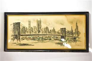 John Haymson (b. 1903) Watercolor Skyline