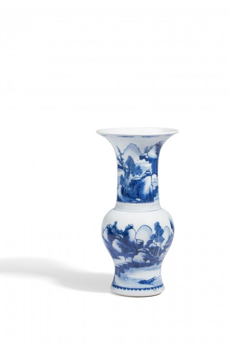 BLUE AND WHITE FIGURAL PHOENIX-TAIL VASE, KANGXI PERIOD