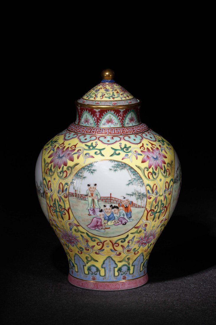 A CHINESE FAMILLE ROSE BOYS JAR, 20TH CENTURY