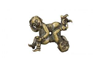 A  BRONZE SCROLL WEIGHT  WRESTLING BOYS, MING DYNASTY
