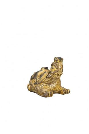 A SMALL GILT-BRONZE WATER DROPPER , MING DYNASTY