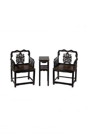 TIELIMU ARMCHAIRS AND A SQUARE TABLE, QING DYNASTY