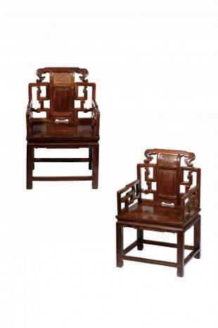 A PAIR OF HARDWOOD  ARMCHAIRS, QING DYNASTY