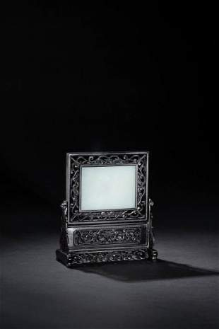 A WHITE JADE TABLE SCREEN, QING DYNASTY