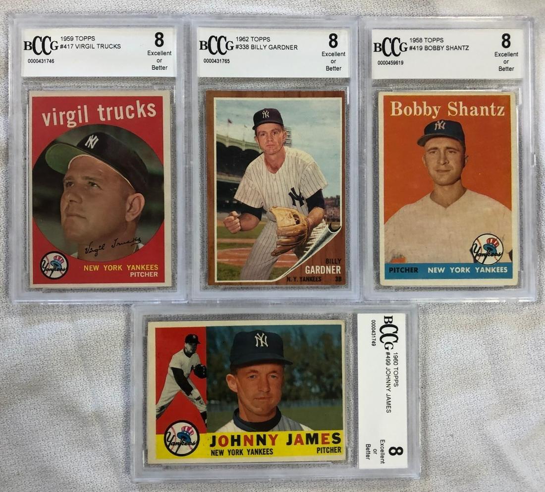 LOT 4 TOPPS 1958-1962 YANKEE BASEBALL CARDS
