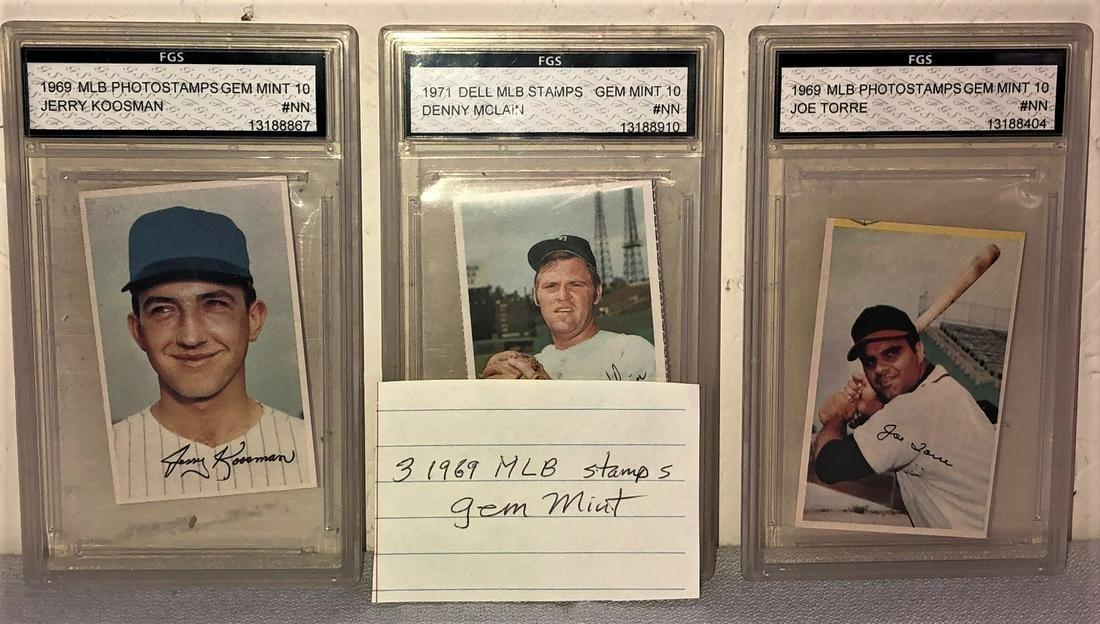 LOT 3 MLB 1969/71 STAMPS GEM MINT BASEBALL CARDS