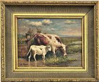 OC COW LANDSCAPE PAINTING BY B FRANK