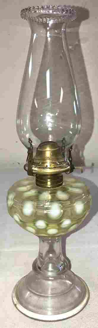 VASELINE OPALESCENT COIN SPOT OIL LAMP