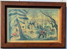 """CURRIER & IVES LITHOGRAPH """"LANDING OF THE PILGRIMS"""""""