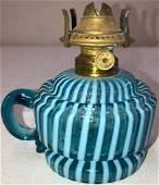 BLUE OPALESCENT STRIPED OIL LAMP
