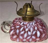 CRANBERRY OPALESCENT SNOWFLAKE OIL LAMP