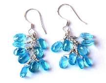 BLUE TOPAZ EARRING  W/ 925 SOLID  SILVER