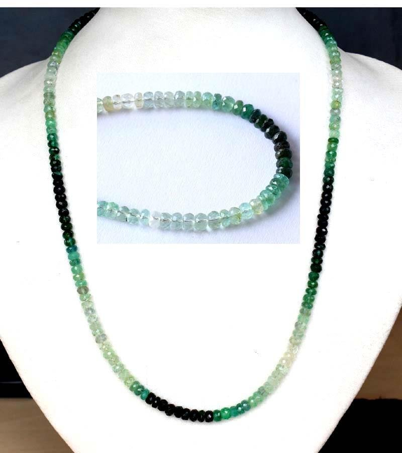 STERLING SILVER - SHADED EMERALD - NECKLACE